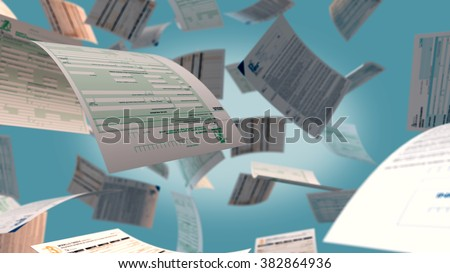 several italian tax forms flying (3d render)