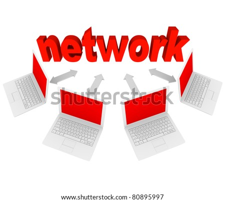 Several laptops connected with arrows to the word Network, representing a social network on the Internet - stock photo