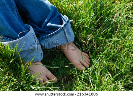 several legs lying on the grass - stock photo