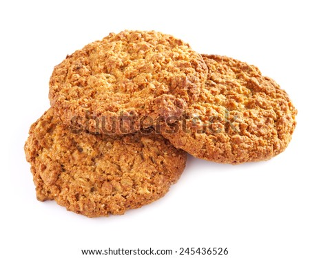 Several oatmeal cookies in a stack, on a white background - stock photo