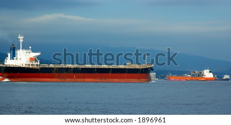 Several oil tankers in Vancouver harbor. More with keyword group14e