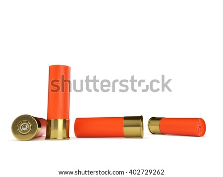 Several orange shotgun shells isolated on a white background. 3D illustration.