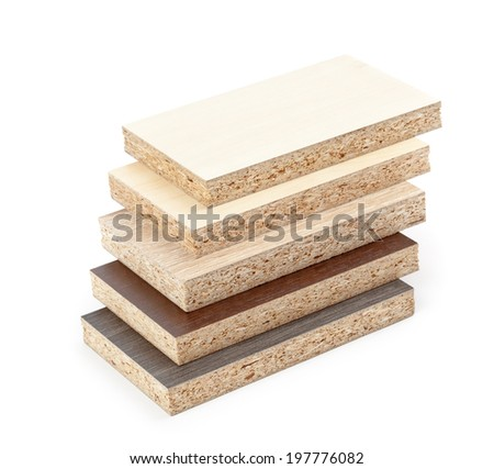 Several pieces of chipboard with texture isolated on white background. - stock photo