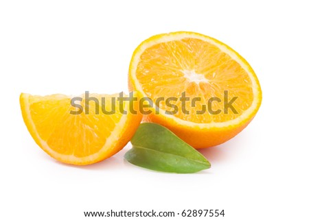 Several pieces of juicy orange in the composition isolated on a white background. / Juicy orange