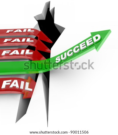 Several red arrow with the word Fail plunge into a chasm while one successful green arrow with the word Succeed rises above the challenge to win a competition - stock photo