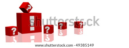 Several red cubes with question marks around a single big one with an exclamation mark. All on white background.