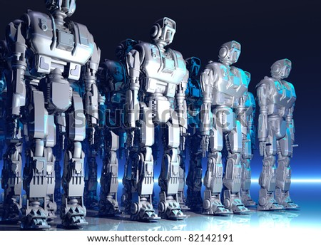 Several rows of large metal robots standing on a reflective surface
