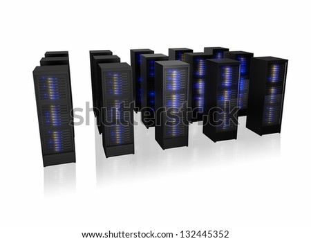 Several rows of server racks. Isolated on white background - stock photo
