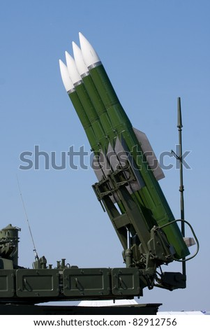 Several Russian combat missiles aimed at the sky. Ready to fly. - stock photo