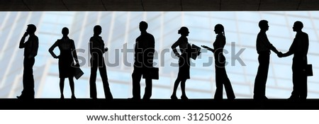Several silhouettes of businesspeople interacting over blue background - stock photo
