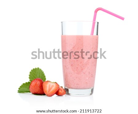 Several sliced strawberries with leaf,juice and straw isolated on a white background - stock photo