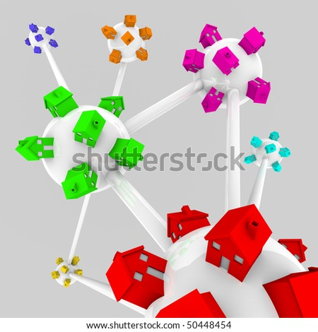 Several spheres containing houses of different colors, all connected in a network - stock photo