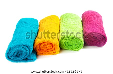 Several towels cotton towel isolated on a white