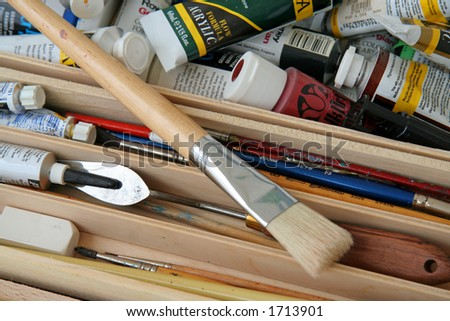 Several used paint brushes - stock photo