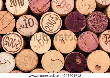 Several Wine Corks Close-up from above - stock photo