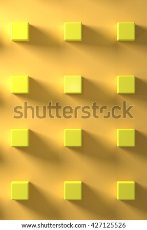 Several yellow cubes on yellow background.From above