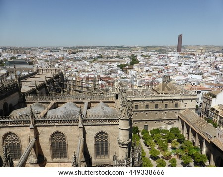 Sevilla from above, Spain. View from the Giralda.