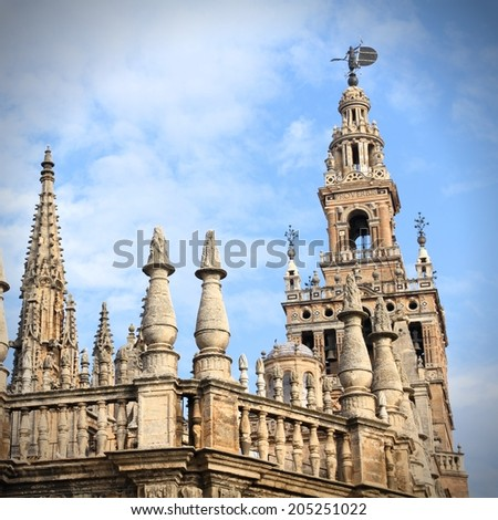 Sevilla in Andalusia, Spain. Famous cathedral. UNESCO World Heritage Site. Square composition. - stock photo