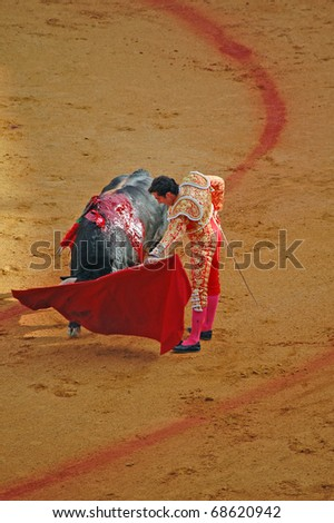 "SEVILLE - APRIL 30:  Bullfighter David Fandila ""El Fandi"" fights for a sold out crowd at the Plaza de Toros de Sevilla April 30, 2009 in Seville, Spain."