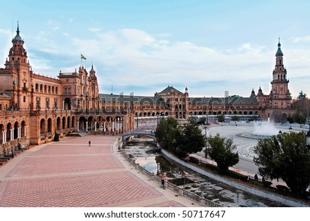 Seville, Plaza de Espana Overview - stock photo