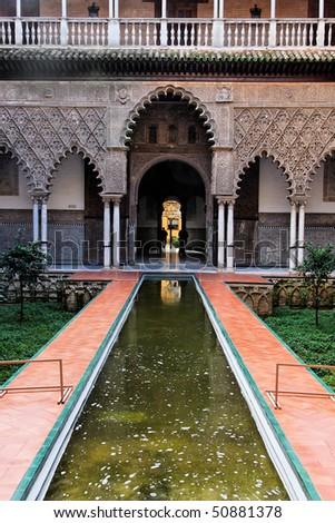 Seville, Real Alcazar Patio de las Doncellas - stock photo