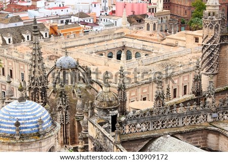Seville, Spain - aerial view of the cathedral and General Archive of Indies, UNESCO World Heritage Sites - stock photo