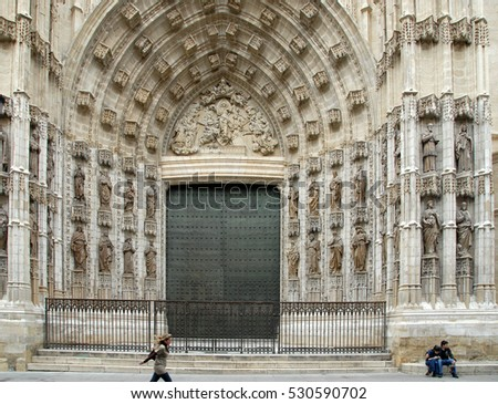 SEVILLE, SPAIN - APRIL 09, 2008: One of the doors of the Cathedral of Santa Maria de la Sede
