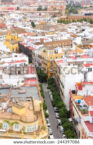 Seville, Spain - city aerial view. Street of Sevilla. - stock photo