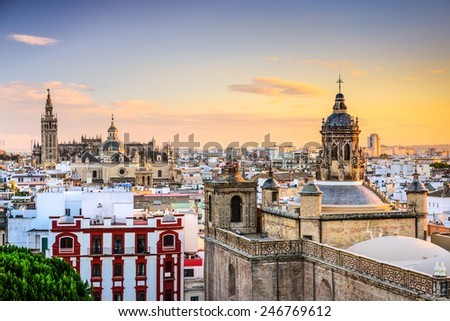 Seville, Spain city skyline at dusk. - stock photo