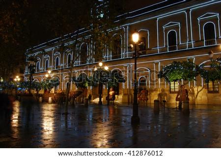SEVILLE, SPAIN - DECEMBER 29, 2009: Squre in Seville, Spain, during Christmas. - stock photo