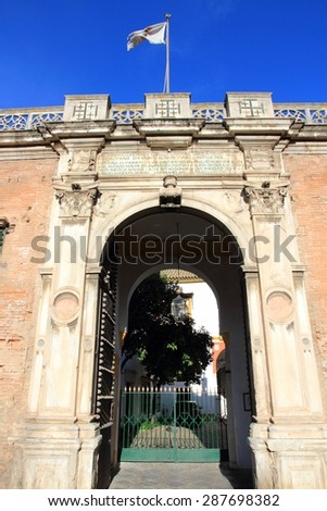 Seville, Spain - famous Casa de Pilatos. Spanish landmark, old Andalusian palace. - stock photo