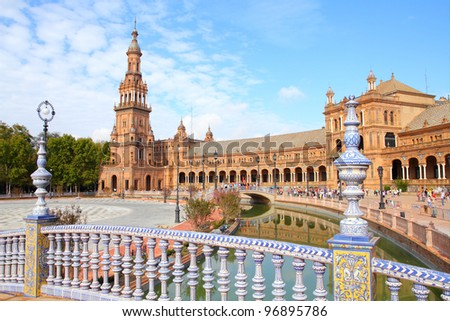 Seville, Spain - famous Plaza de Espana. Old landmark. - stock photo