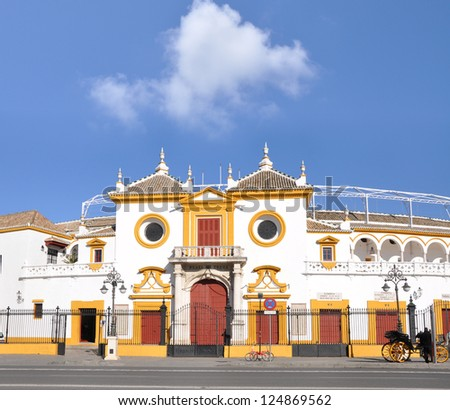 SEVILLE, SPAIN - JAN 3: Plaza de Toros de la Maestranza (seats 12,500) is a historic bullring built in the 18th century is one of the most famous bullrings in all of Spain. Seville, Jan 3, 2013. - stock photo