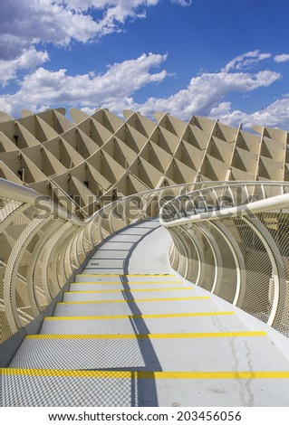 SEVILLE, SPAIN - MAY 2014: Texture graphic detail of Metropol Parasol in Plaza de la Encarnacion on 31 of May 2014 in Sevilla,Spain. A new Seville Market Hall and attractive destination. - stock photo
