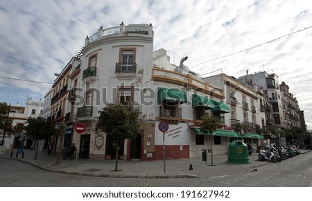SEVILLE, SPAIN � NOVEMBER 4, 2010 � in the country's southern section of Andalucia is filled with ornate architecture. - stock photo