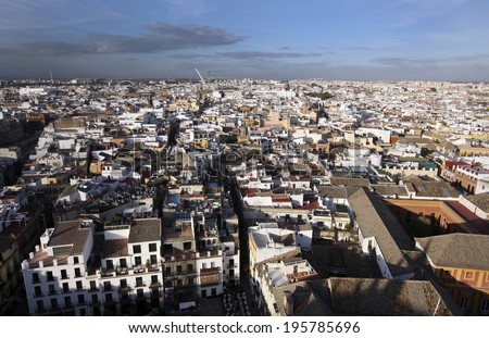SEVILLE, SPAIN - NOVEMBER 4, 2010 - Spain'Â?Â?s Seville, in the country's southern section of Andalucia, is filled with ornate architecture. - stock photo