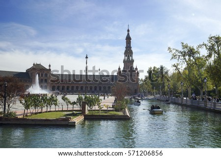Seville, Spain - November 23, 2016 :  Spain Square in Seville