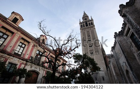 SEVILLE, SPAIN -Â?Â? NOVEMBER 4, 2010 The famous cathedral of Seville, Spain, is one of many places claiming to be the elusive burial spot of Christopher Columbus. - stock photo