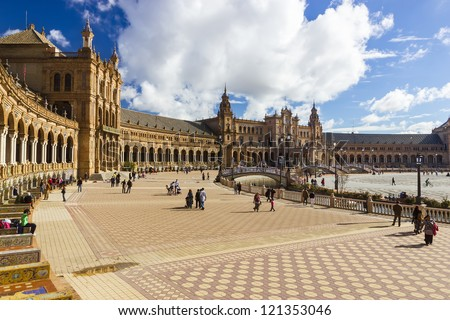 SEVILLE, SPAIN - NOVEMBER 18: View of Plaza de Espana on November 18, 2012 in Seville, Spain. Plaza de Espana complex, built in 1929, is a huge half-circle with a total area of 50,000 square meters
