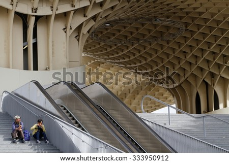 SEVILLE, SPAIN, October 23, 2015 : Metropol Parasol is a wooden structure designed by architect Mayer-Hermann and completed in 2011. The building is popularly known as Las Setas de la Encarnacion.