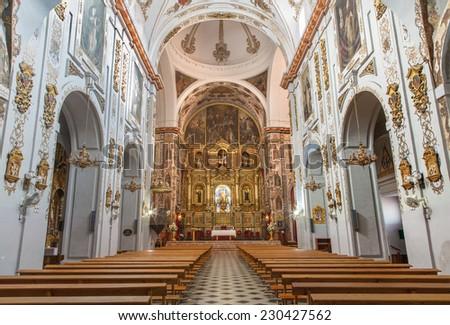 SEVILLE, SPAIN - OCTOBER 29, 2014: The baroque church Basilica del Maria Auxiliadora.  - stock photo