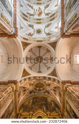 SEVILLE, SPAIN - OCTOBER 29, 2014: The baroque cupola and ceiling of church Basilica del Maria Auxiliadora.  - stock photo