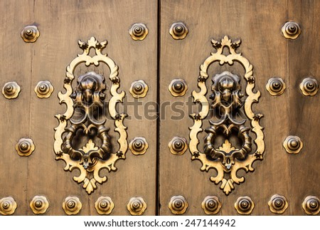 Seville, Spain. Old door detail, made of wood, 200 years old.