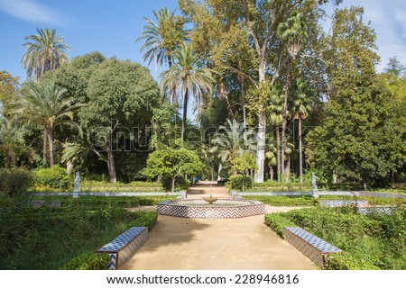 Seville - The little tiled fountain in Maria Luisa park