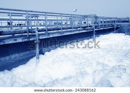 Sewage treatment plant closeup in an industrial enterprise, on March 6, 2012, Luannan County, Hebei Province, China  - stock photo