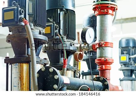 Sewage treatment plants indoors and instrumentation closeup. - stock photo
