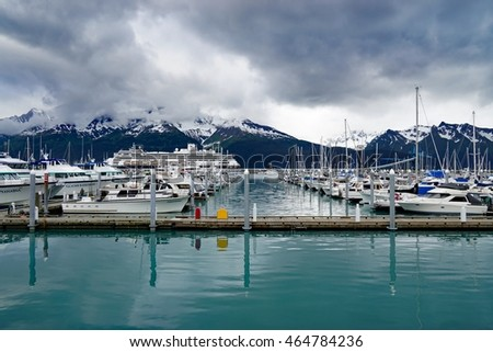 SEWARD, ALASKA -24 MAY 2015- Boats in the Seward harbor, departure point for many cruises in the Alaskan fjords in the Kenai Peninsula. The town was named after William H. Seward.