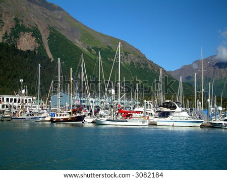 Seward Bay Harbor in Alaska - stock photo