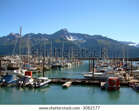 Seward Harbor in Alaska - stock photo