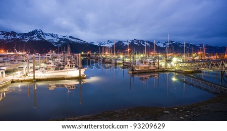 Seward marina in the middle of the night - stock photo